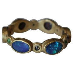 Black Opal Diamonds and Sapphires 22 Karat Gold Band Fashion Ring