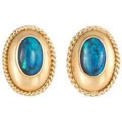Black Opal Earrings Vintage 14 Karat Yellow Gold Oval Studs Estate Fine Jewelry