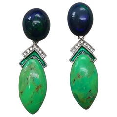 Black Opal Green Turquoise Blue Sapphires Green Enamels Diamonds Gold Earrings