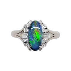 Black Opal Oval and White Diamond Ring