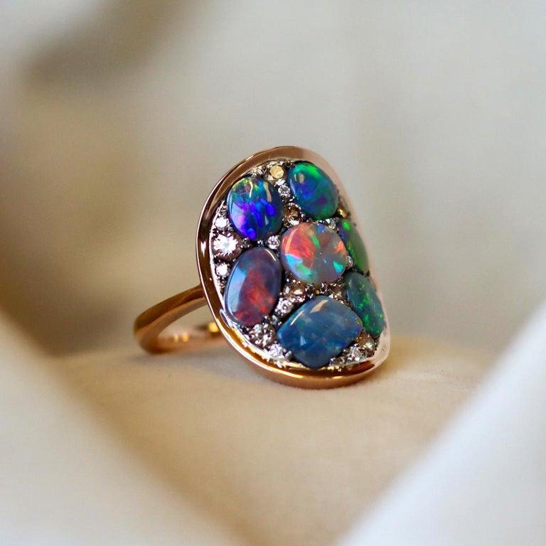 Black Opal Padparadscha Sapphire Diamond Mosaic Ring 3