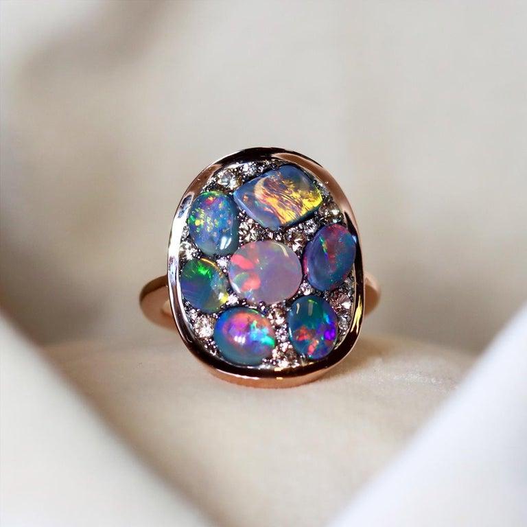 Black Opal Padparadscha Sapphire Diamond Mosaic Ring 4