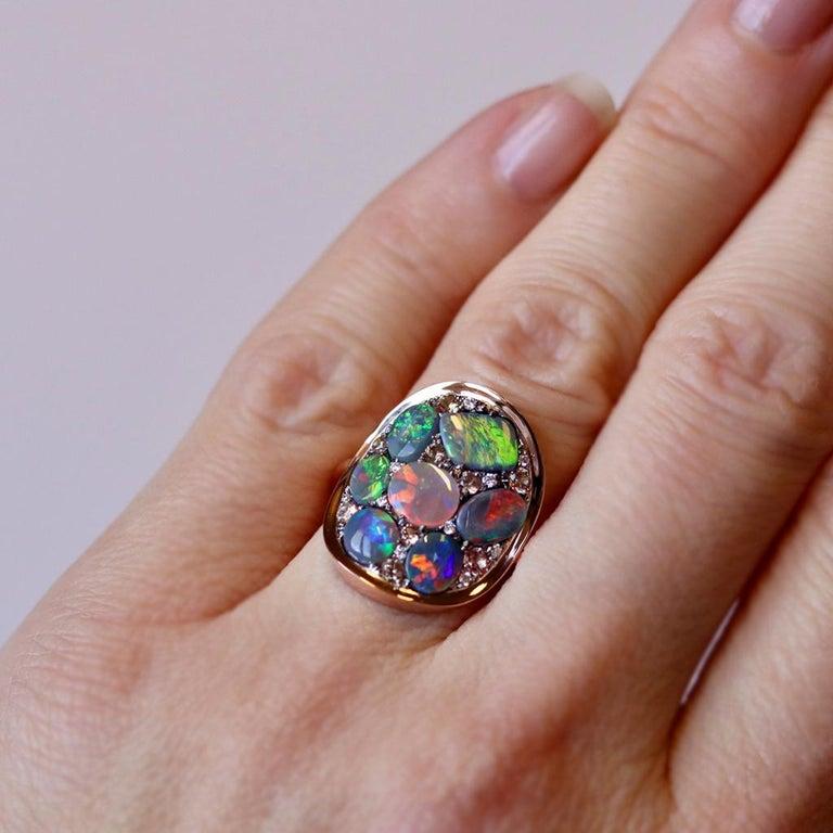 Black Opal Padparadscha Sapphire Diamond Mosaic Ring 5