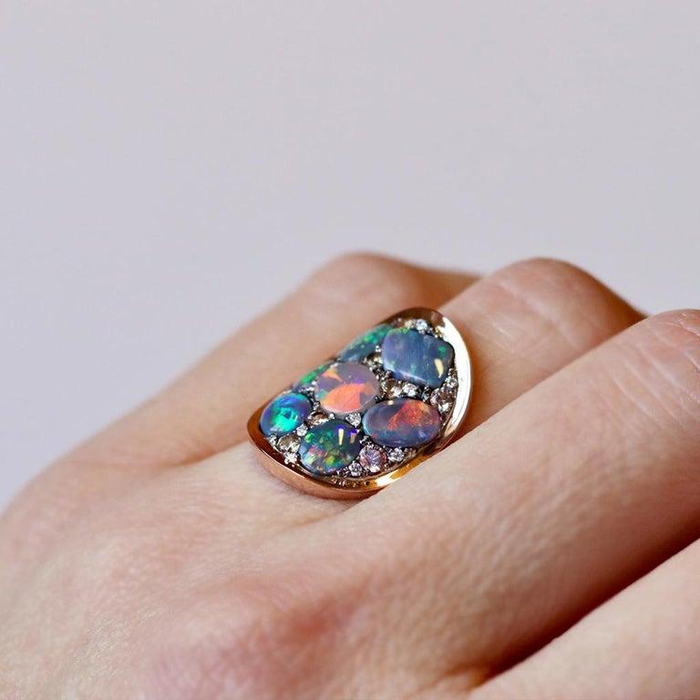 Black Opal Padparadscha Sapphire Diamond Mosaic Ring 6