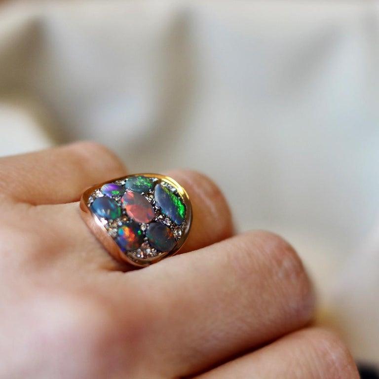 Black Opal Padparadscha Sapphire Diamond Mosaic Ring 7