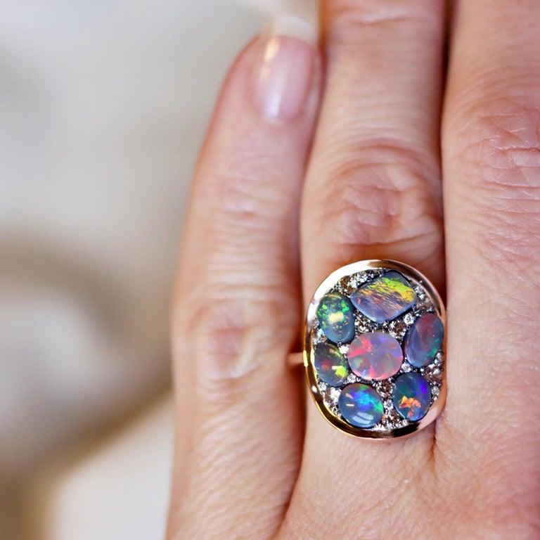 Black Opal Padparadscha Sapphire Diamond Mosaic Ring 9