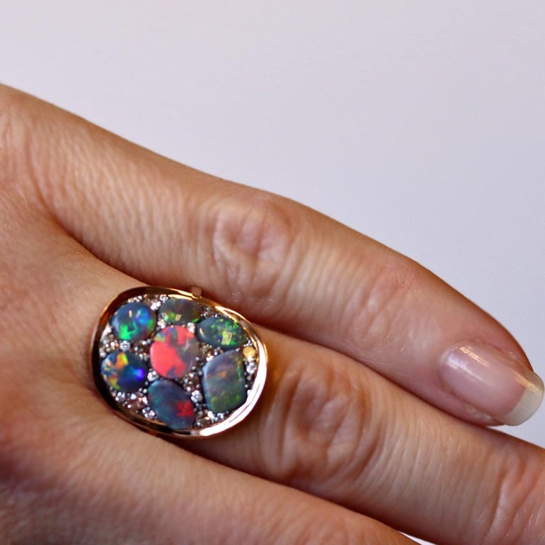 Black Opal Padparadscha Sapphire Diamond Mosaic Ring 10