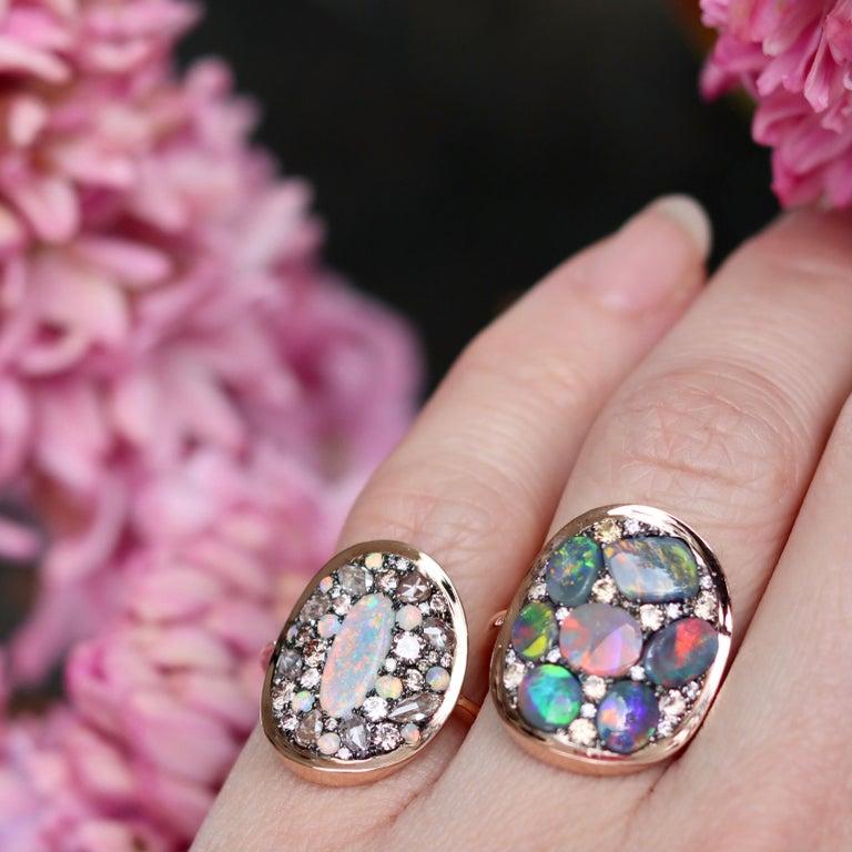 Black Opal Padparadscha Sapphire Diamond Mosaic Ring 11