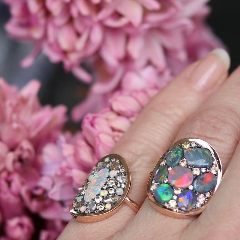 Black Opal Padparadscha Sapphire Diamond Mosaic Ring 12