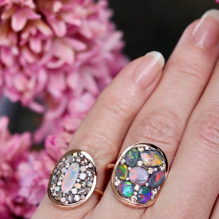 Black Opal Padparadscha Sapphire Diamond Mosaic Ring 13