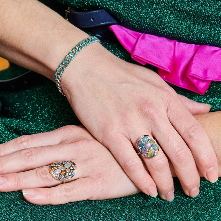 Black Opal Padparadscha Sapphire Diamond Mosaic Ring 14