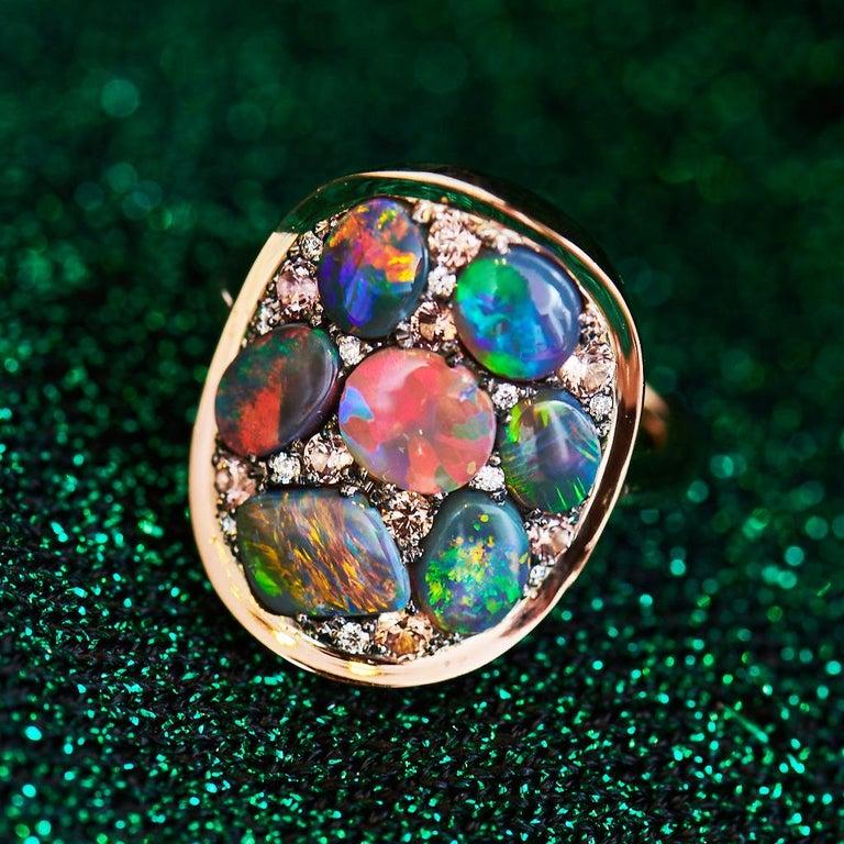 Art Nouveau Black Opal Padparadscha Sapphire Diamond Mosaic Ring