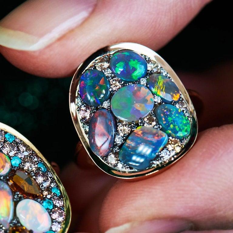 Cabochon Black Opal Padparadscha Sapphire Diamond Mosaic Ring