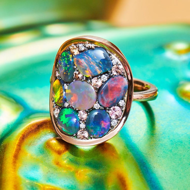 Black Opal Padparadscha Sapphire Diamond Mosaic Ring In New Condition In Antwerp, BE