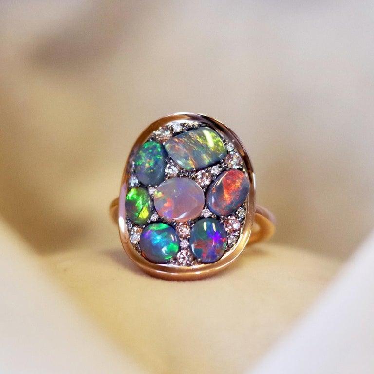 Women's Black Opal Padparadscha Sapphire Diamond Mosaic Ring