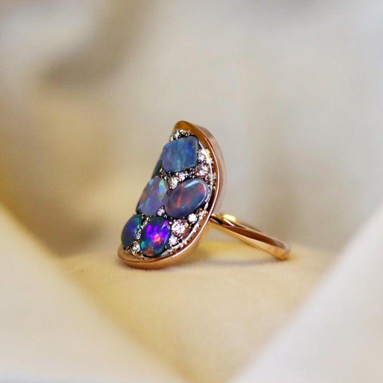 Black Opal Padparadscha Sapphire Diamond Mosaic Ring 1