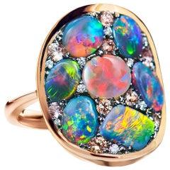 Black Opal Padparadscha Sapphire Diamond Mosaic Ring