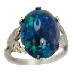 Black Opal Platinum Ring
