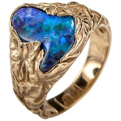 Black Opal Ring 14k Gold Fine Jewelry Natural Australian Opal Ivy Unisex Ring