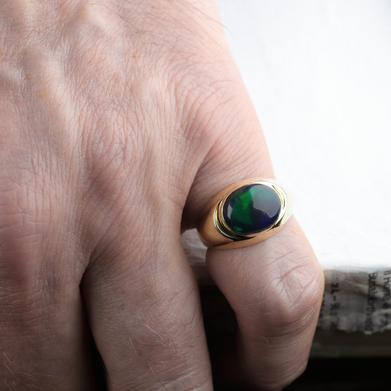 Black Opal Ring from Lightning Ridge is Understated Until It's Not For Sale 11