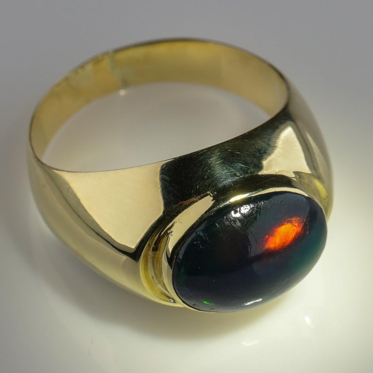 Black Opal Ring from Lightning Ridge is Understated Until It's Not For Sale 3