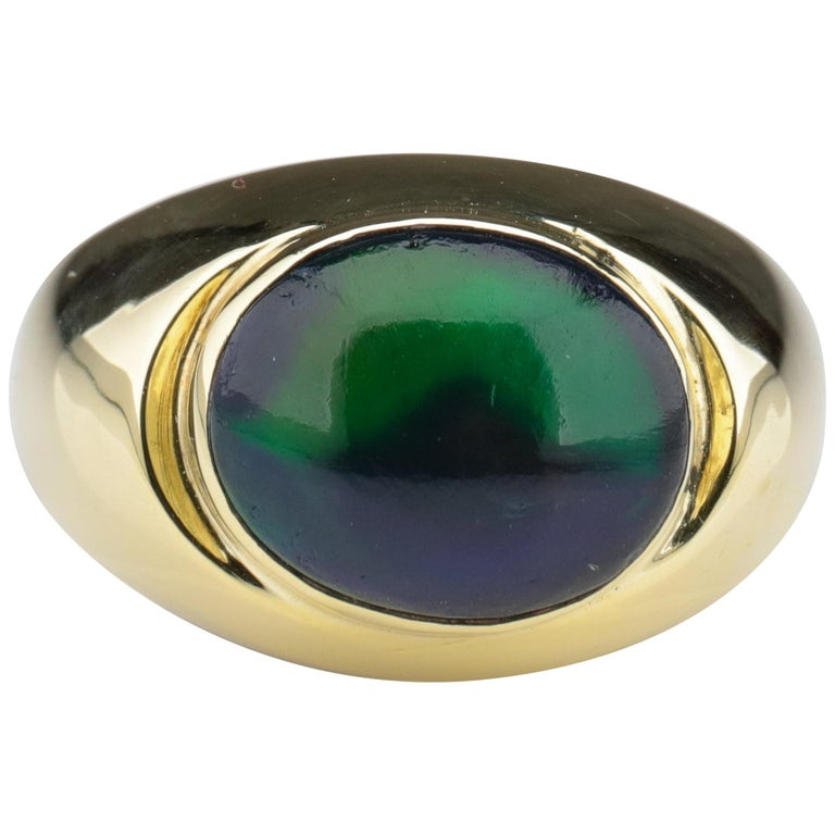 Black Opal Ring from Lightning Ridge is Understated Until It's Not For Sale