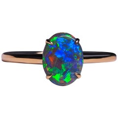 Black Opal Ring Gold Engagement Modern Australian Black Opal Art Deco Style