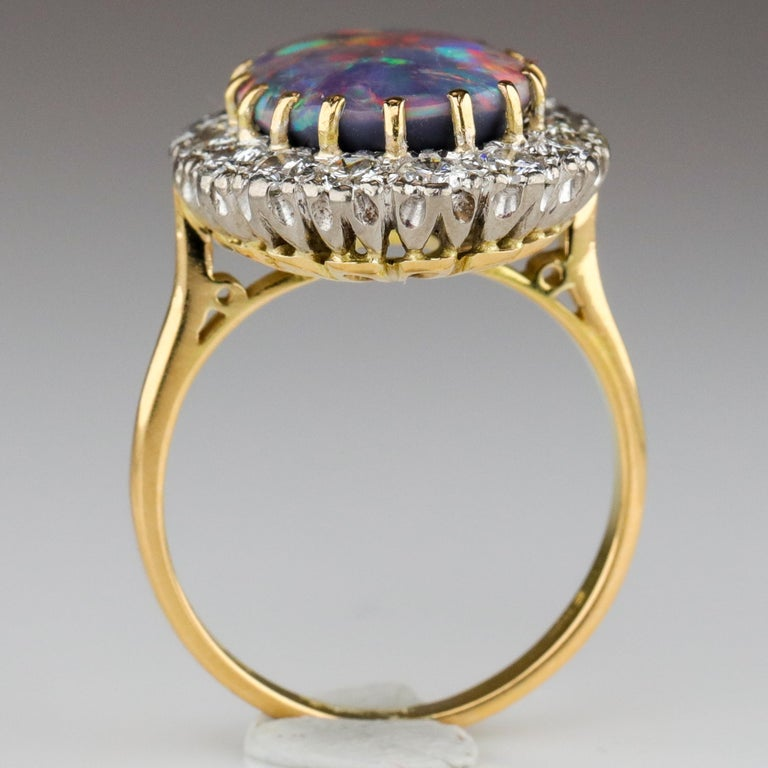 Black Opal Ring with Diamonds English, circa 1958 For Sale 5