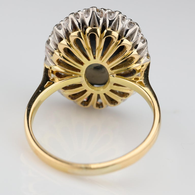 Black Opal Ring with Diamonds English, circa 1958 For Sale 6