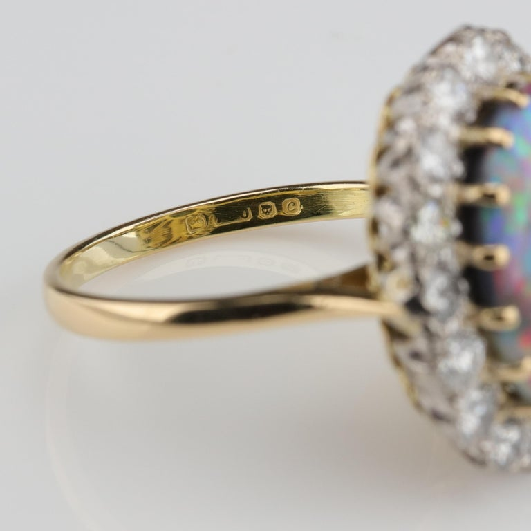 Black Opal Ring with Diamonds English, circa 1958 For Sale 7