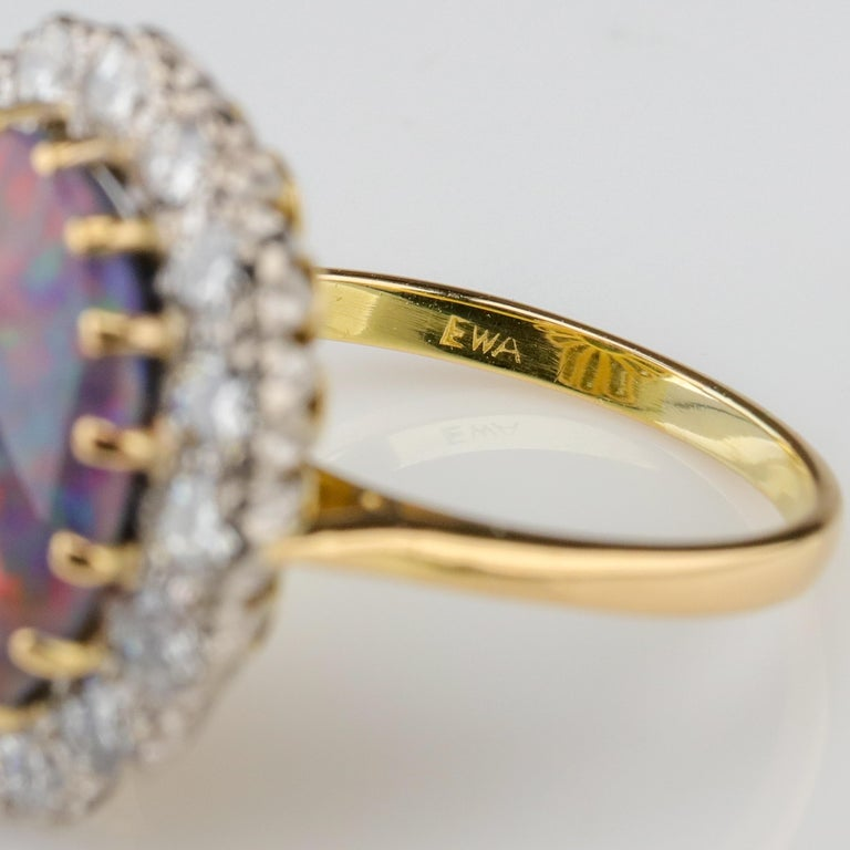 Black Opal Ring with Diamonds English, circa 1958 For Sale 8