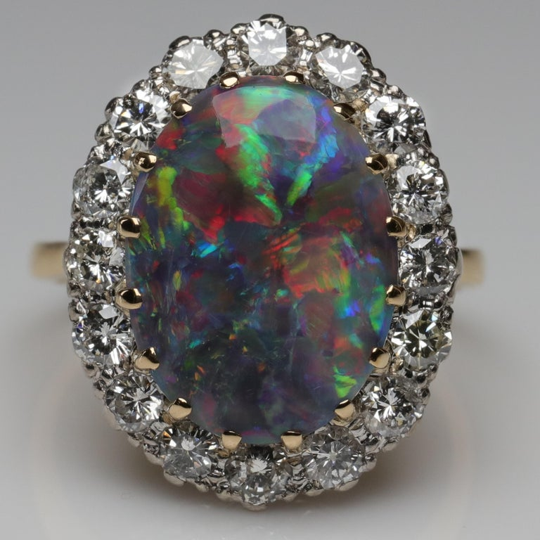 Black Opal Ring with Diamonds English, circa 1958 For Sale 9