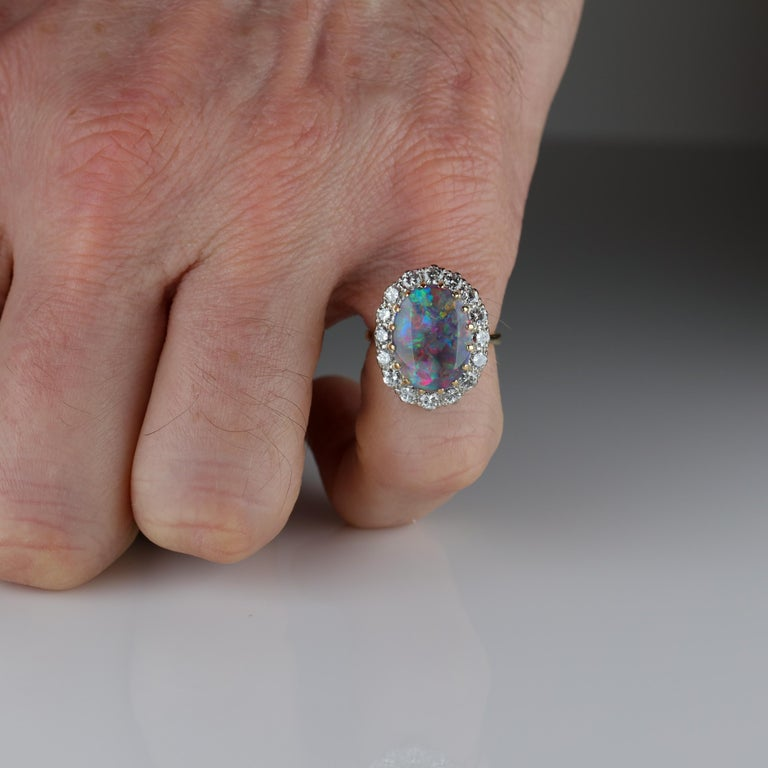 Black Opal Ring with Diamonds English, circa 1958 For Sale 10