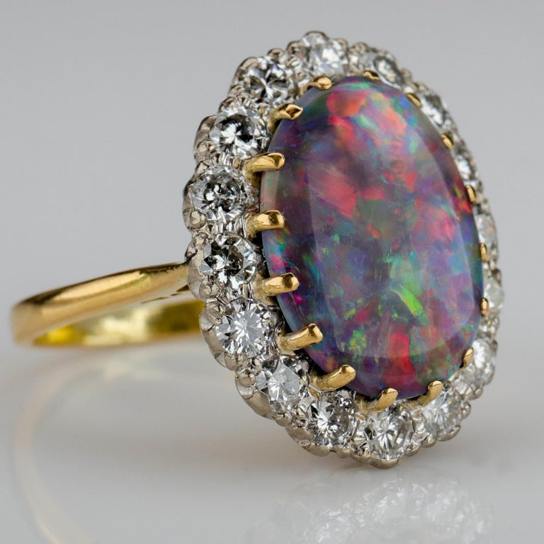 Victorian Black Opal Ring with Diamonds English, circa 1958 For Sale