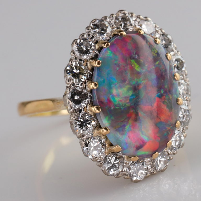 Black Opal Ring with Diamonds English, circa 1958 In Excellent Condition For Sale In Southbury, CT
