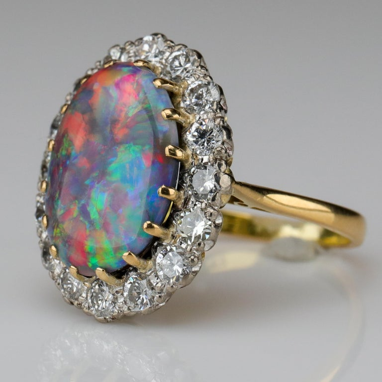 Women's or Men's Black Opal Ring with Diamonds English, circa 1958 For Sale
