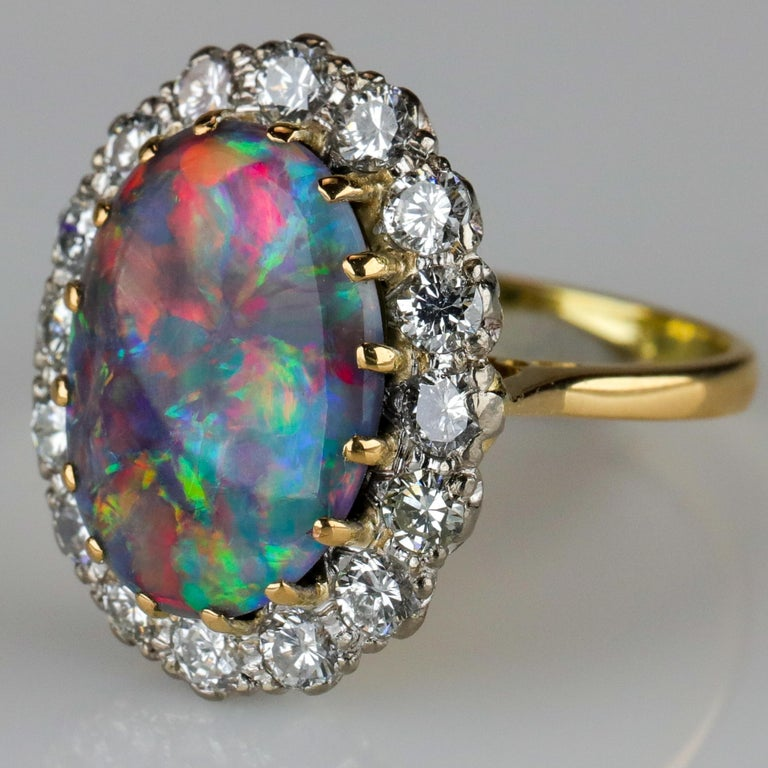 Black Opal Ring with Diamonds English, circa 1958 For Sale 1