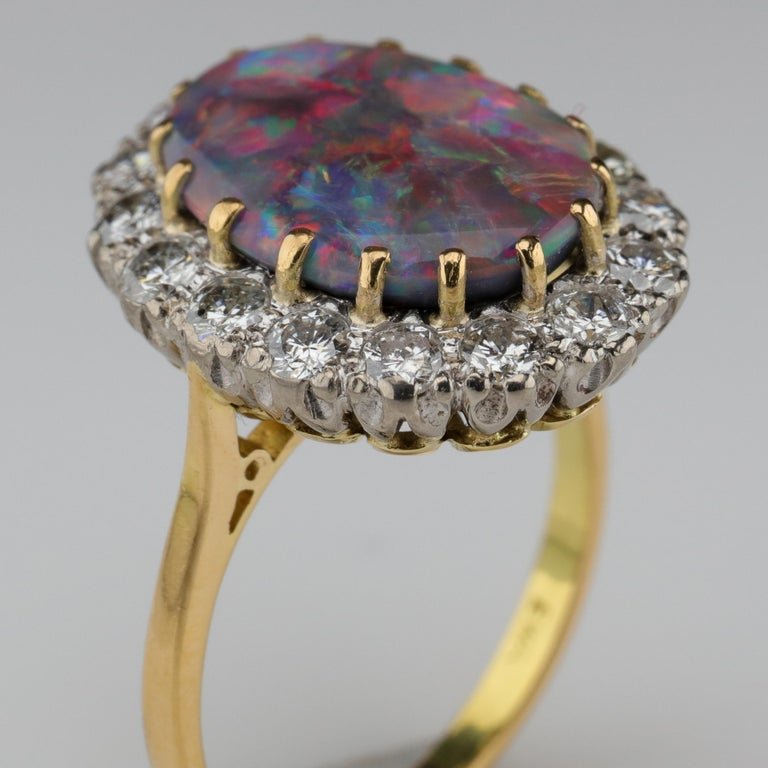 Black Opal Ring with Diamonds English, circa 1958 For Sale 2