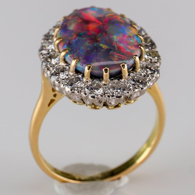 Black Opal Ring with Diamonds English, circa 1958 For Sale 3