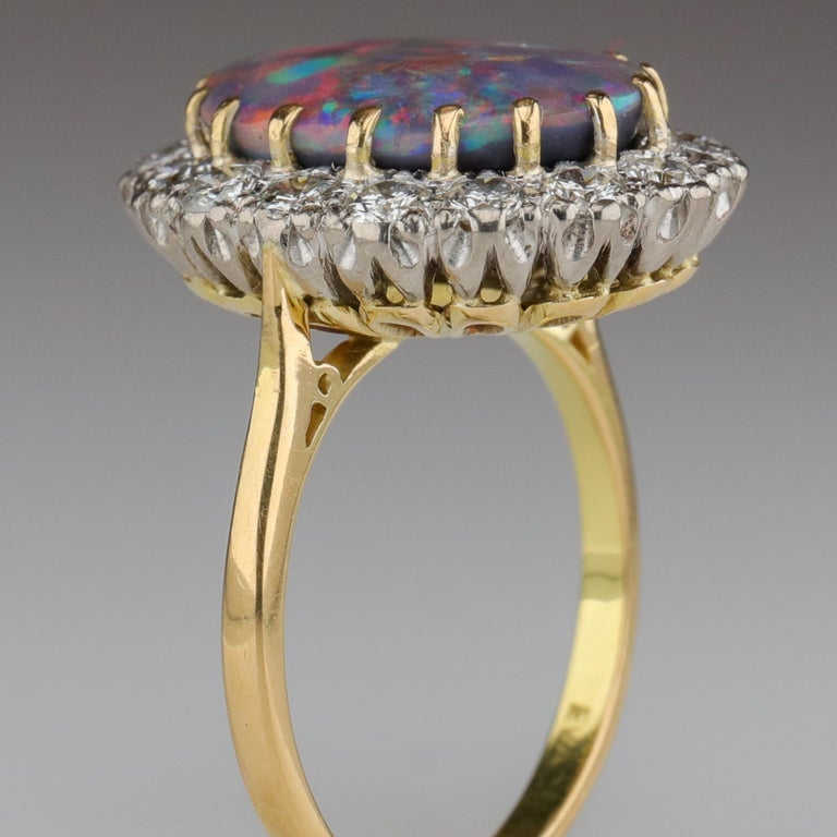 Black Opal Ring with Diamonds English, circa 1958 For Sale 4