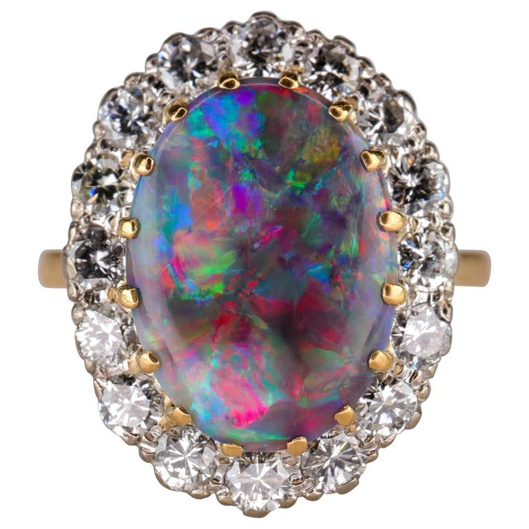 Black Opal Ring with Diamonds English, circa 1958 For Sale