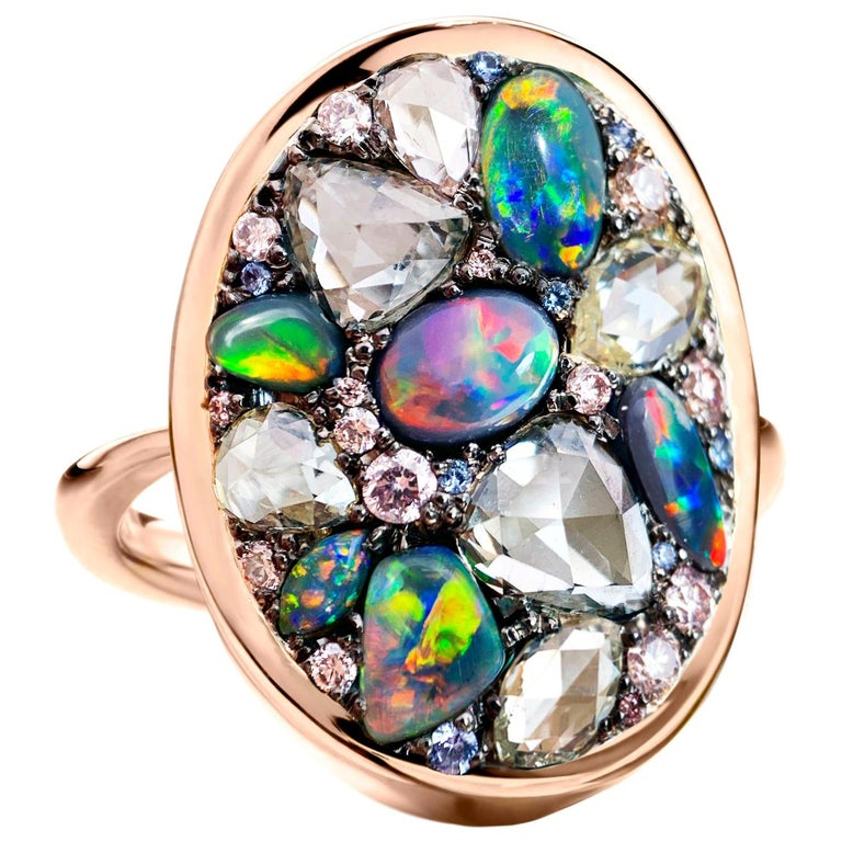 Black Opal, Rose-Cut and Fancy Pink Diamond, Unheated Blue Sapphire Pave Ring For Sale