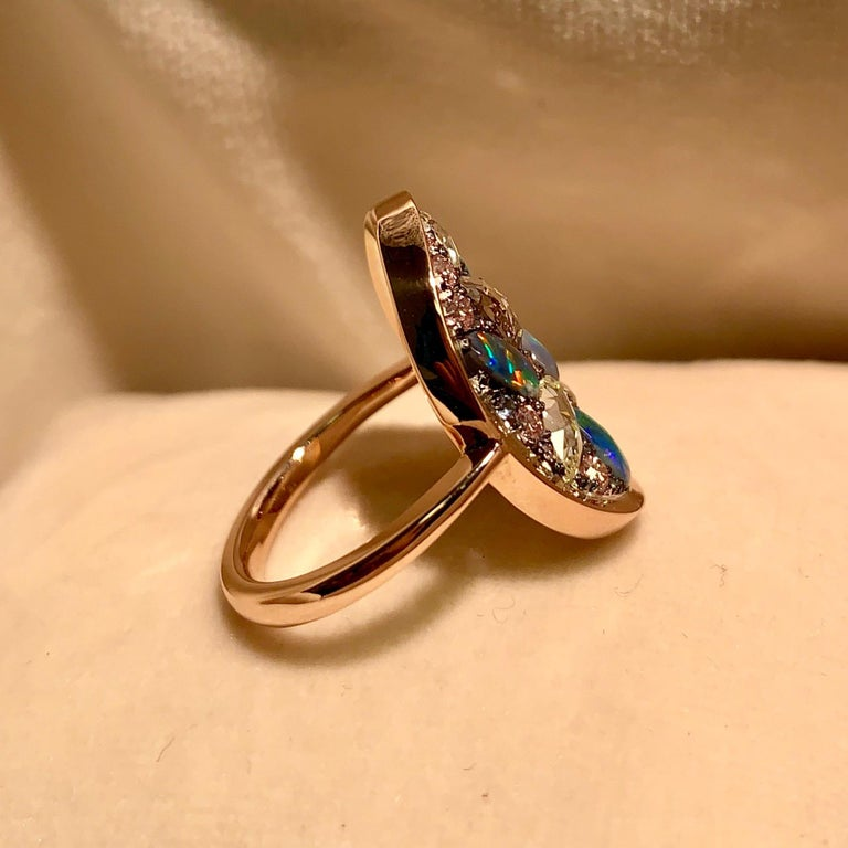Black Opal, Rose-Cut and Fancy Pink Diamond, Unheated Blue Sapphire Pave Ring For Sale 5