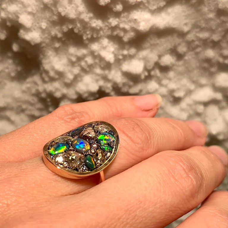 Black Opal, Rose-Cut and Fancy Pink Diamond, Unheated Blue Sapphire Pave Ring For Sale 6