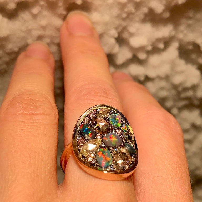 Black Opal, Rose-Cut and Fancy Pink Diamond, Unheated Blue Sapphire Pave Ring For Sale 8