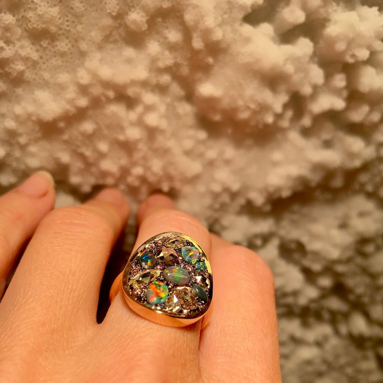 Black Opal, Rose-Cut and Fancy Pink Diamond, Unheated Blue Sapphire Pave Ring For Sale 9