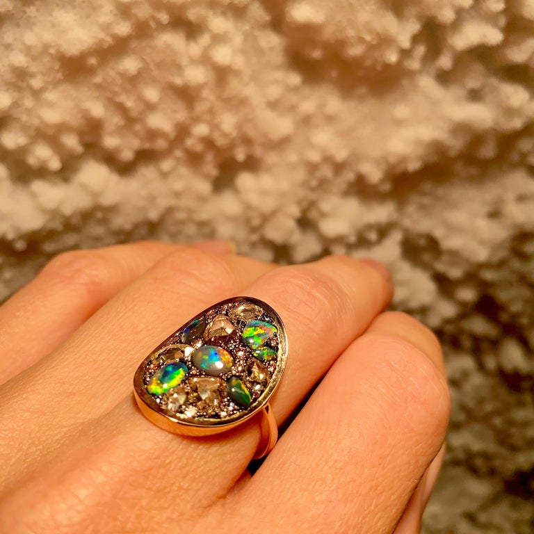 Black Opal, Rose-Cut and Fancy Pink Diamond, Unheated Blue Sapphire Pave Ring For Sale 10