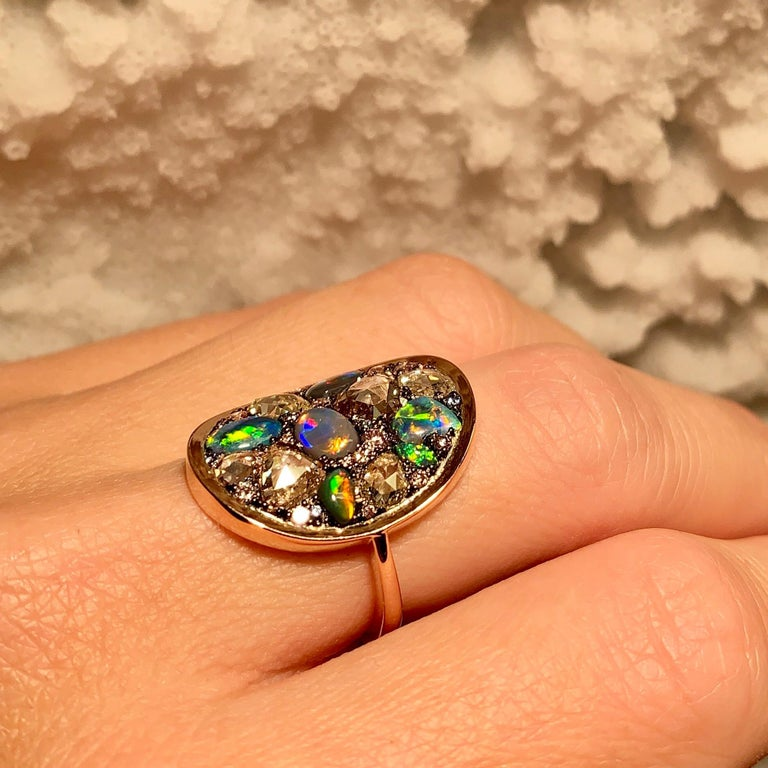 Black Opal, Rose-Cut and Fancy Pink Diamond, Unheated Blue Sapphire Pave Ring For Sale 11