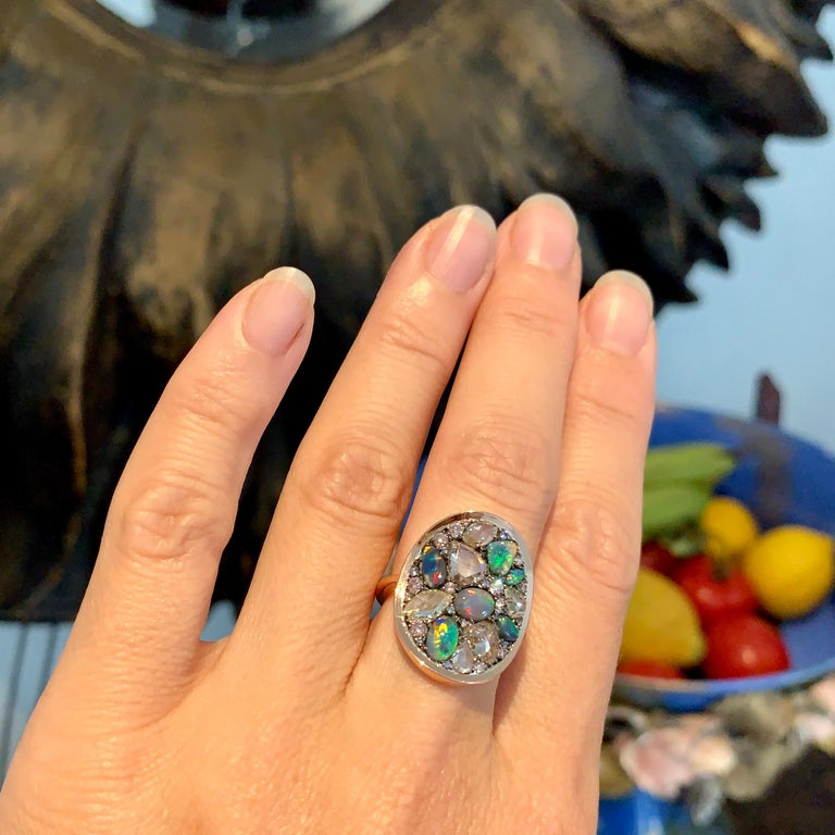 Black Opal, Rose-Cut and Fancy Pink Diamond, Unheated Blue Sapphire Pave Ring For Sale 12