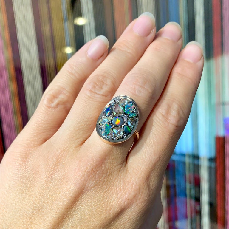 Black Opal, Rose-Cut and Fancy Pink Diamond, Unheated Blue Sapphire Pave Ring For Sale 14
